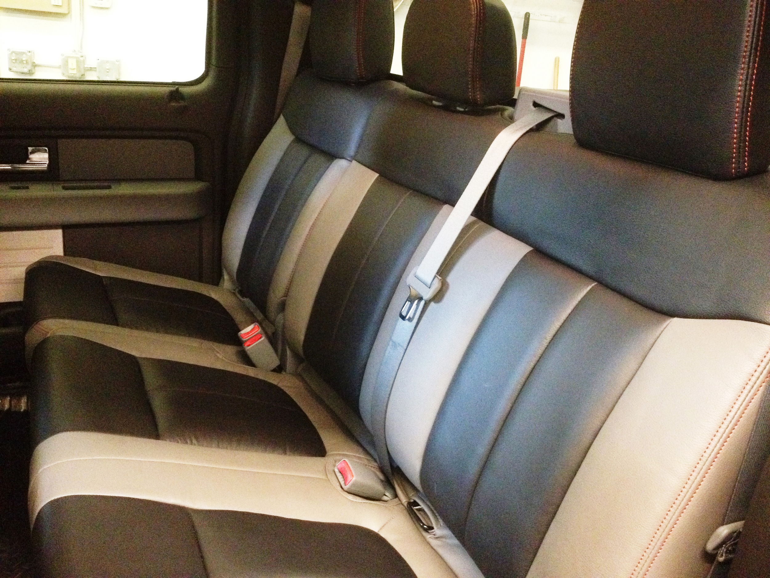 2012 Ford F150 Custom Leather Seats with Red Stitch