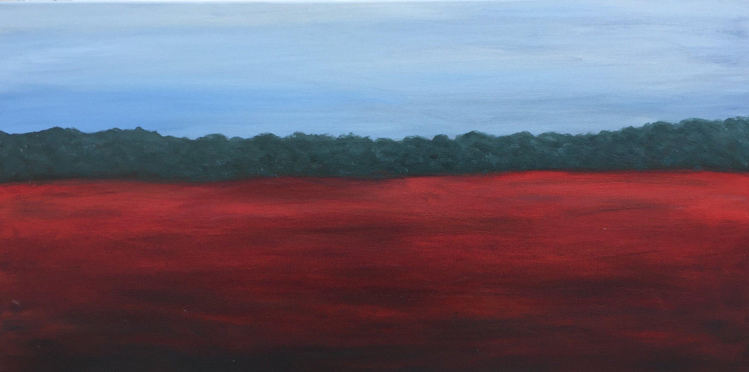 """Treeline, oil on canvas, 15"""" x 30"""""""
