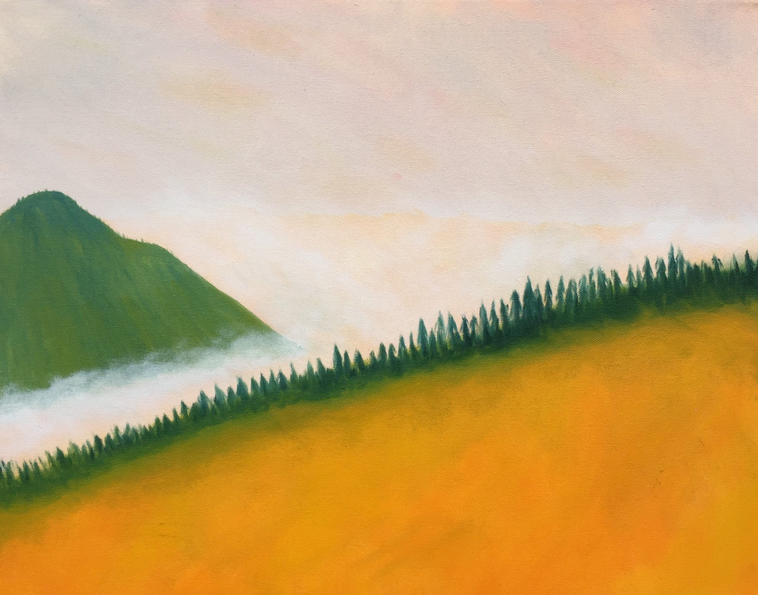 "Misty Mountain, oil on panel, 10"" x 12"""