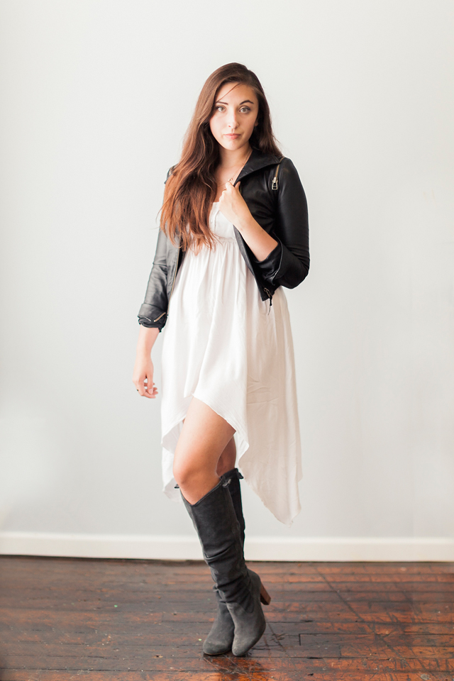 asymetrical-cotton-on-dress-zara-knee-high-boots-leather-jacket