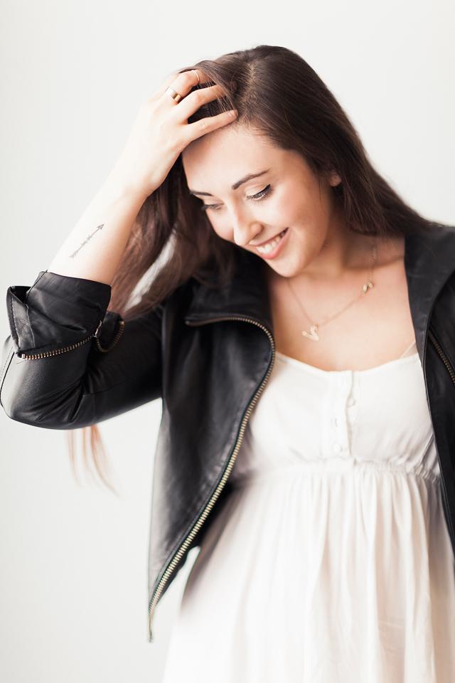 white-dress-leather-jacket-arrow-tatoo-hanger-necklace