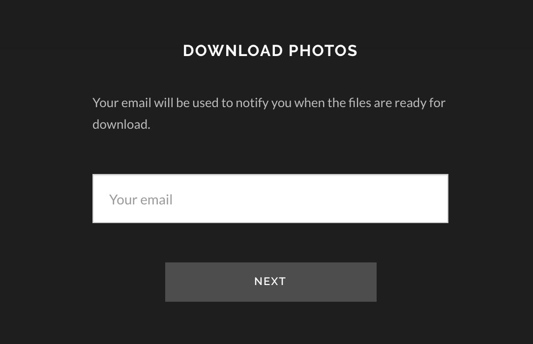 4. SYÖTÄ S-POSTI - Mikäli lataat kaikki kuvat kerralla, niin syötä oheiseen kenttään Sinun oma sähköpostisi ja paina NEXT. Saat suoran latauslinkin myös tähän osoitteeseen, kun kuvasi ovat pakattu latausta varten.