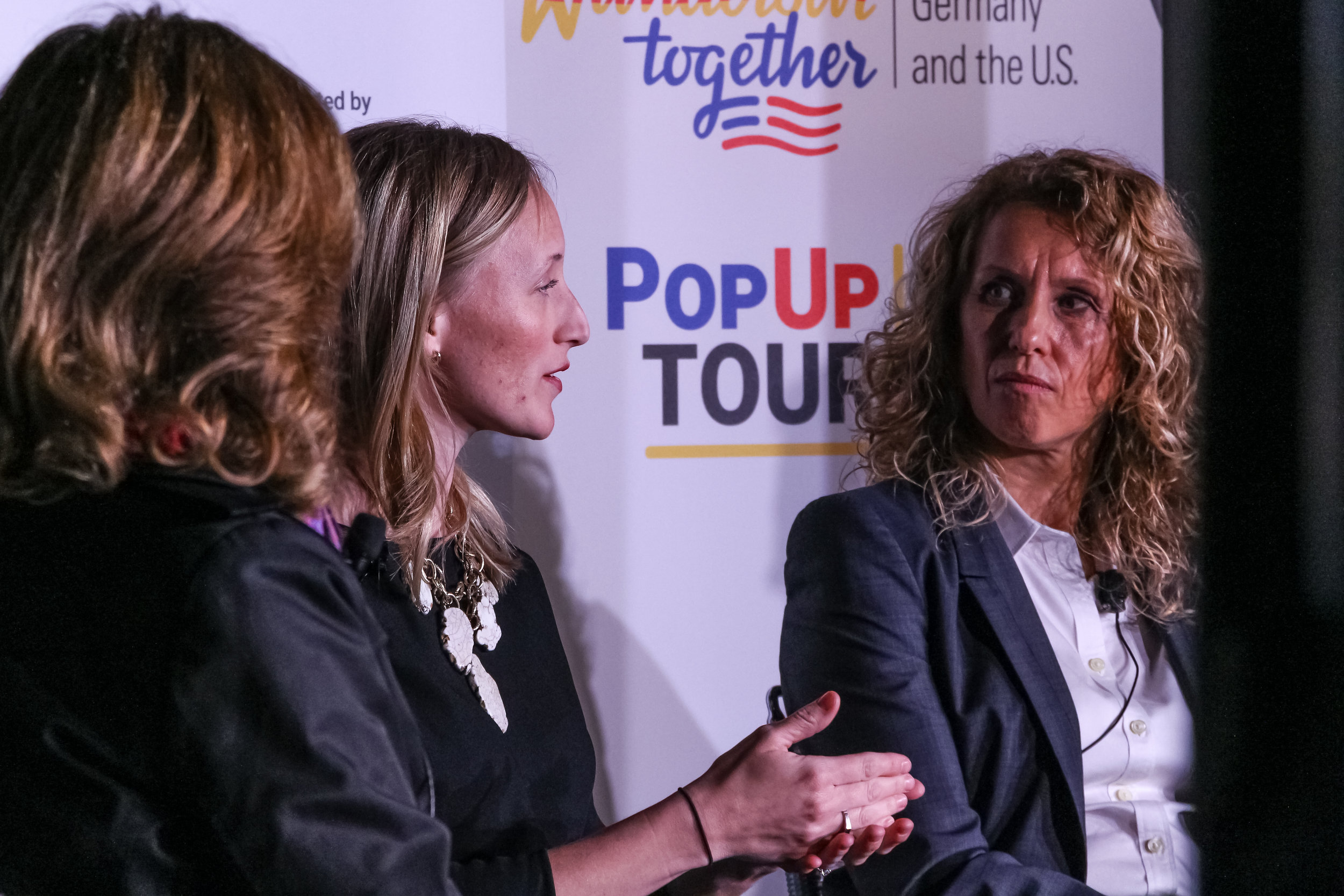 Lizabeth Stuck, Head of Workforce Development at MxD, and Susanne Lemaine, Ph.D., President Vetter Development Services USA, Inc. at Germany Week. Daley Plaza, Chicago, 2019.