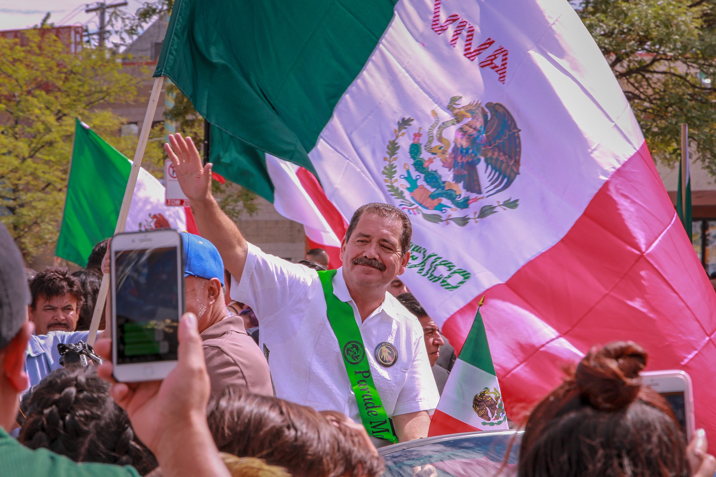 "Representative Jesús G. ""Chuy"" García at the Mexican Independence Day Parade. Little Village, Chicago, 2018."