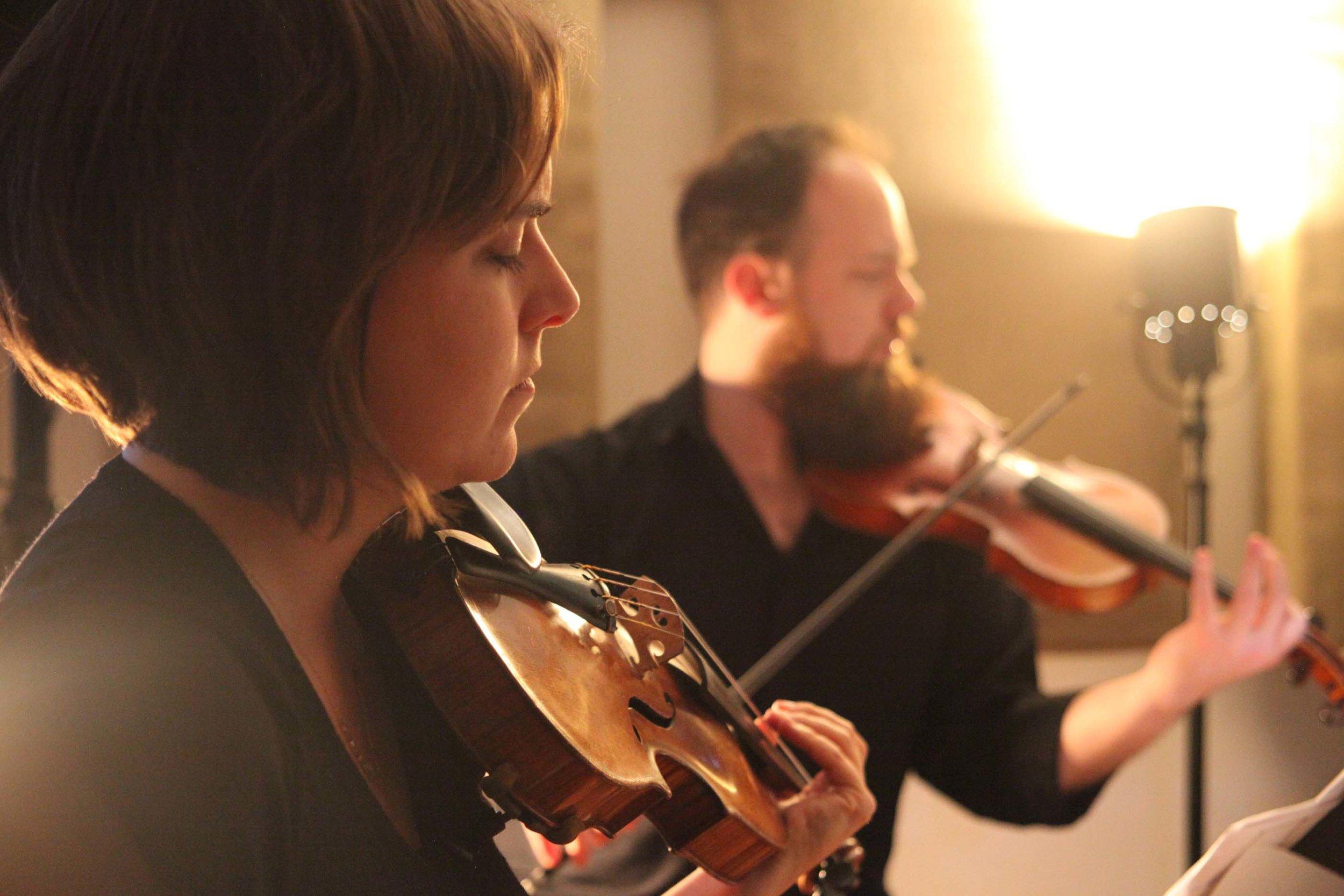 Olivia de Prato and Joshua Modney of Mivos Quartet. Experimental Sound Studio, Chicago, 2015.