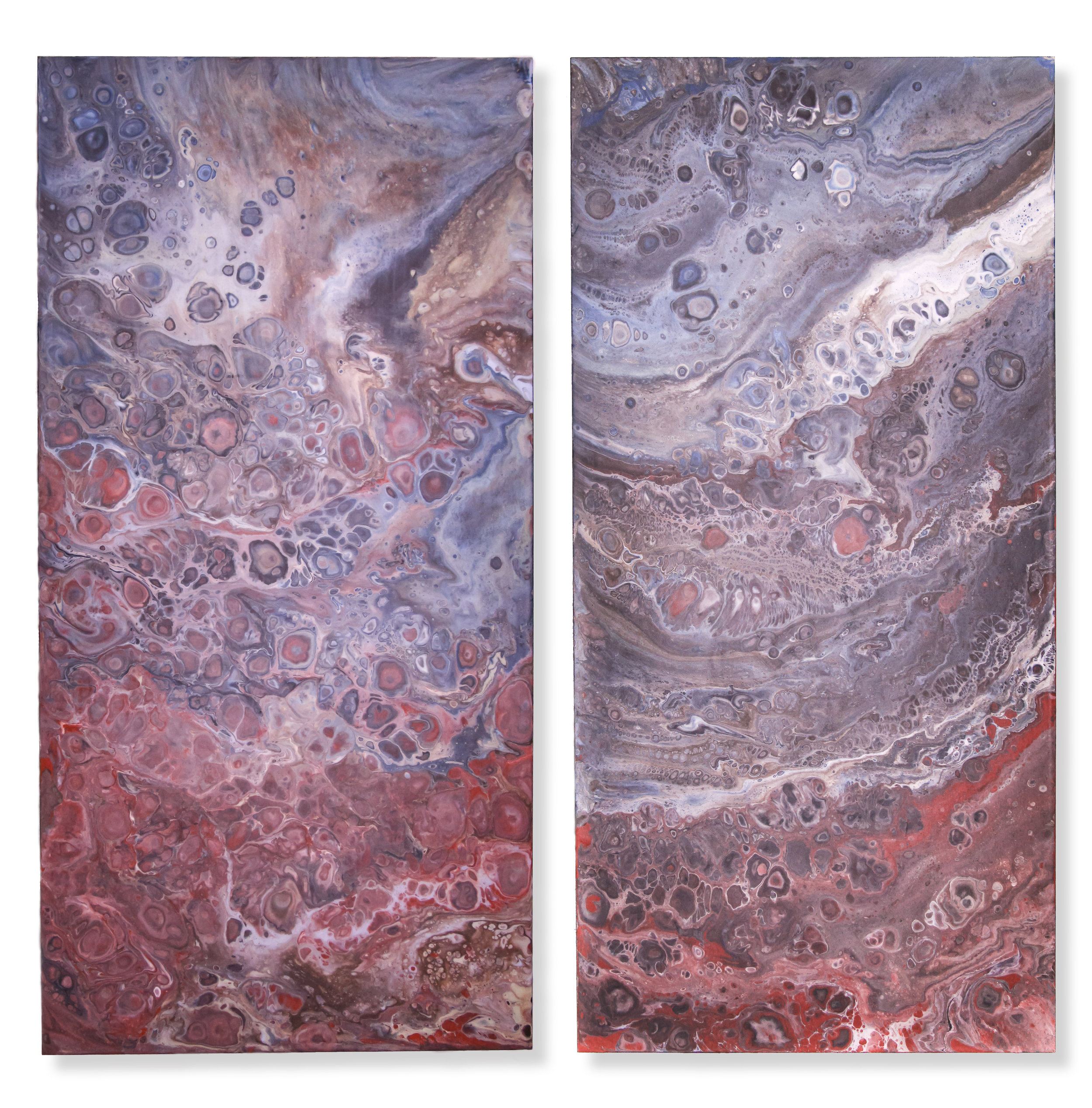 "Dan Mohr,  Cobalt, Red Oxide.  2019. Acrylic on Porcelain. Diptych, each panel 18"" x 36""."