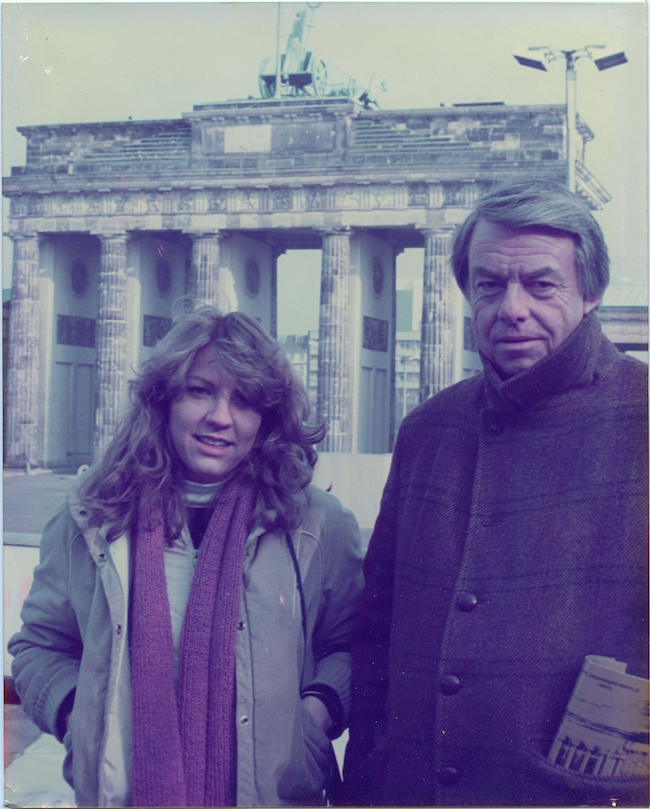 With Daddy in front of Brandenburg Gate in Berlin.