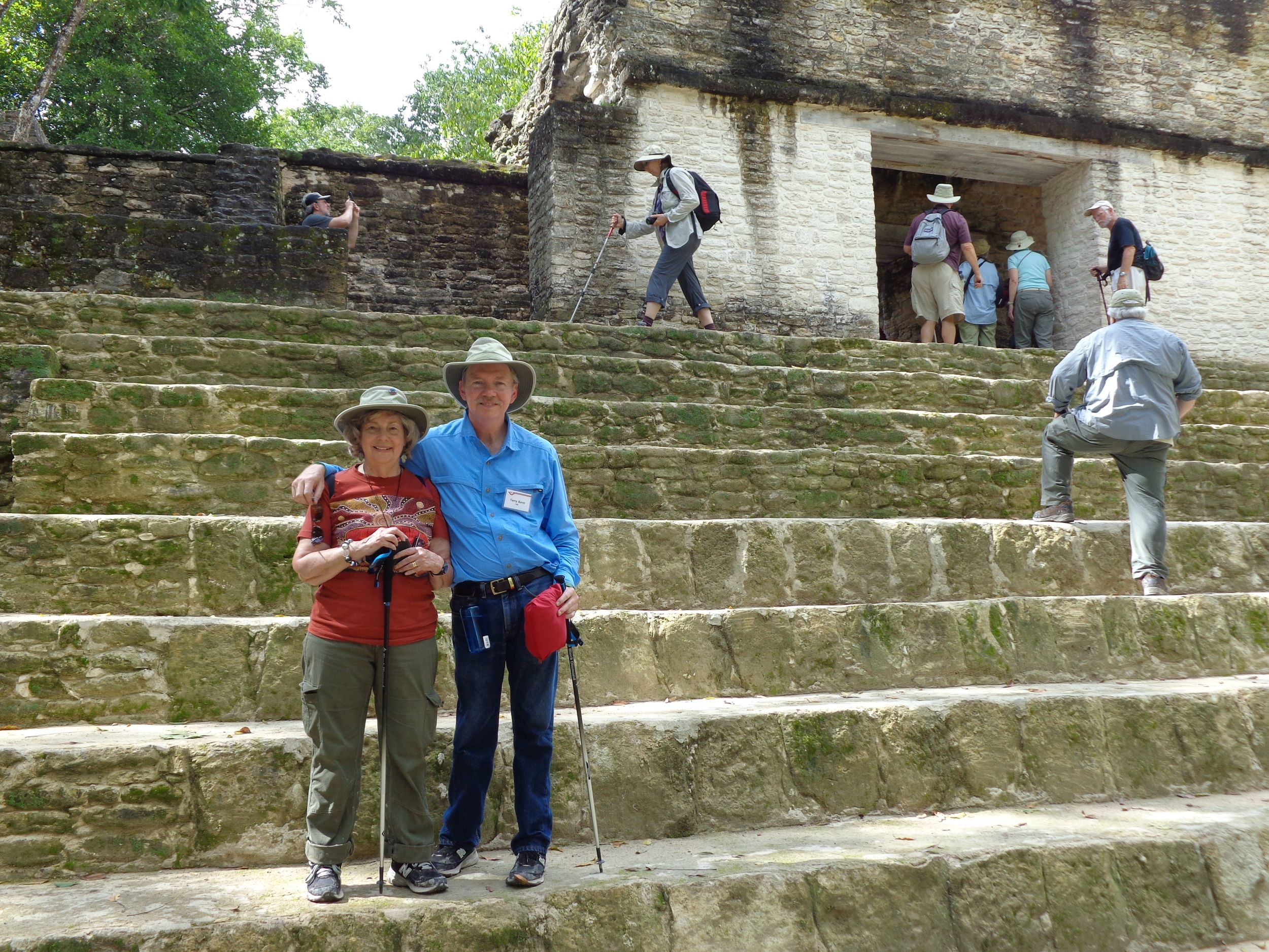 The author and her husband at Cahal Pech Maya site, Belize.