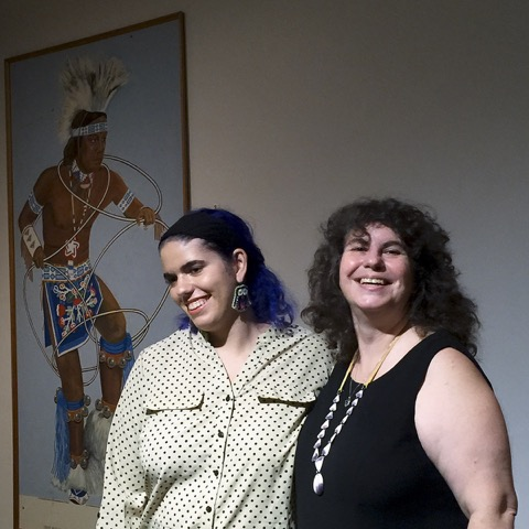 Daughter Lina and mother Vera Longtoe talk about their heritage while wearing Abenaki tribe-inspired jewelry, Mt. Kearsarge Indian Museum, Warner, New Hampshire.
