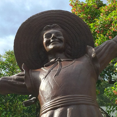 A statue of Polyanna in Littleton, New Hampshire, home of the character's creator (Eleanor H. Porter).