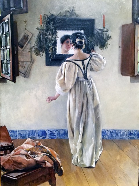 """""""A Knock at the Door"""" evocatively depicts a young lady in the timeless process of primping, Currier Museum of Art, Manchester,New Hampshire."""