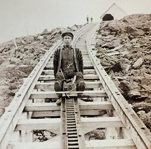 """""""Devil's Shingles"""" hastened the commute downhill for cog railway construction workers –and sometimes hastened their deaths, as it reached speeds over 60 mph, Mt. Washington, New Hampshire."""