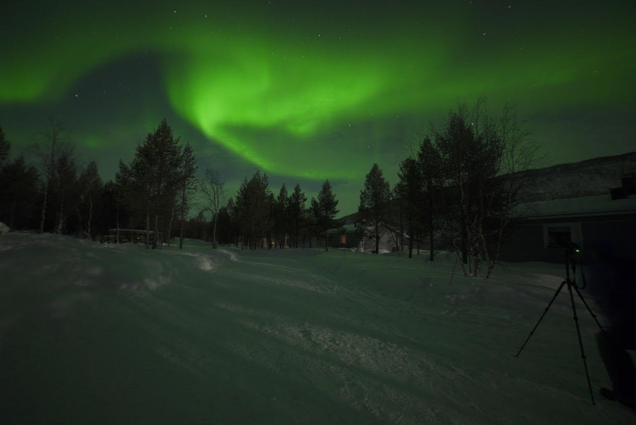 Photographing the northern lights in Finnish Lapland.