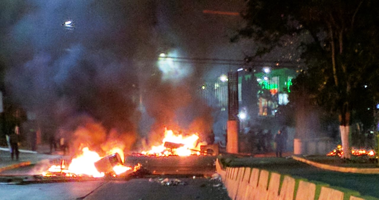 Fires blocking the streets in Honduras.