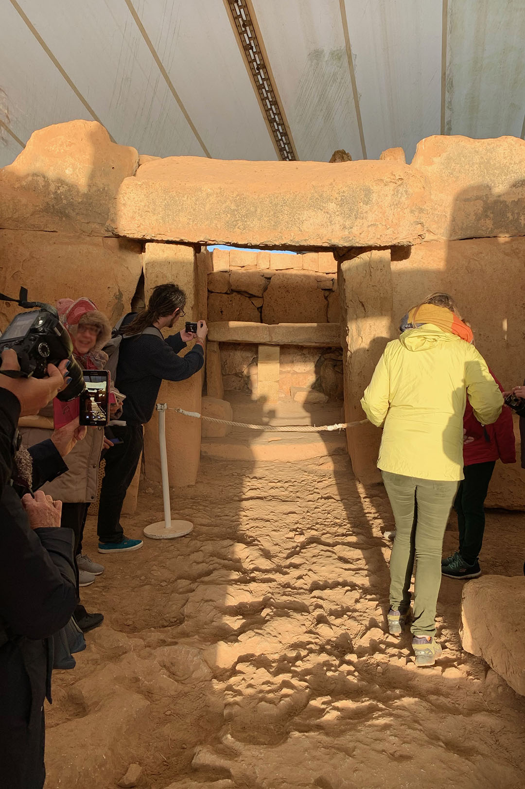 Watching the spring equinox sunrise flow through the corridor and touch the altar at Mnajdra.