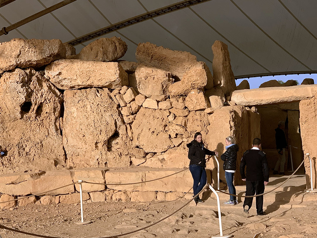 Entrance to Mnajdra Temple, protected by the canopy.