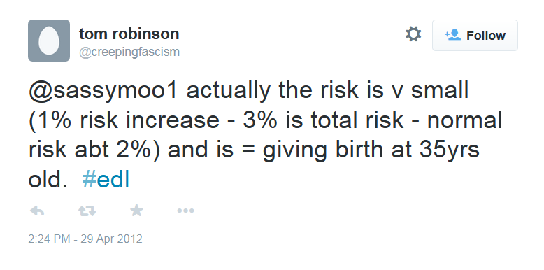 3. By itself, that doesn't indicate anything. But the coincidences pile up. Here is a tweet from @creepingfascism from April 2012 discussing the risk of giving birth at the age of 35 - a somewhat esoteric topic and the user @sassymoo1 is no longer on Twitter so the context of the conversation is lost, but the next screenshot explains it.
