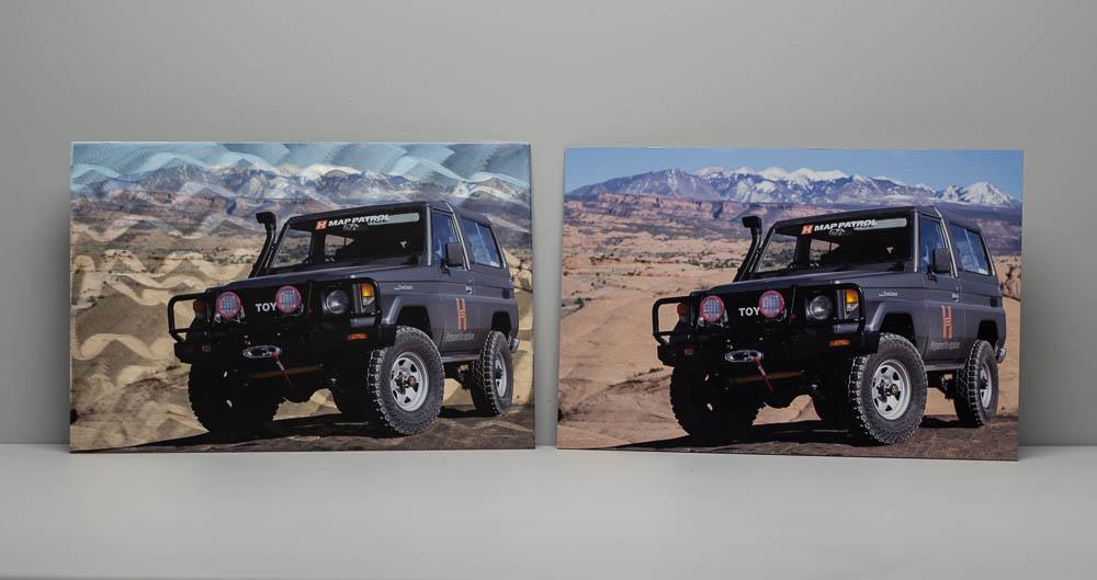 Burnished aluminum print (left) vs. aluminum composite (right)