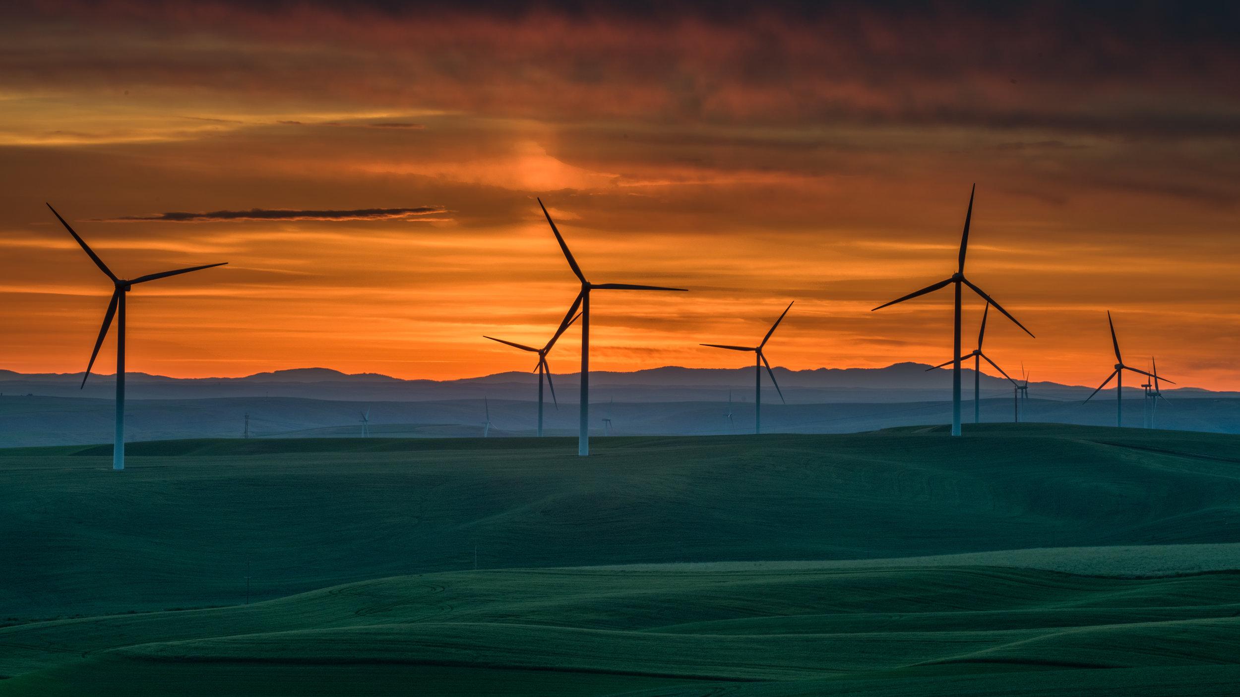 Windmills at Dawn: Kendall Skyline Road, COL (WA)  EQ: D800, 70-200mm f/4, Tripod  Taken: 6-7-2017 at 3:50   Settings: 135mm, 1/25s, f/20.0, ISO400, -3/4EV  Conditions: clear