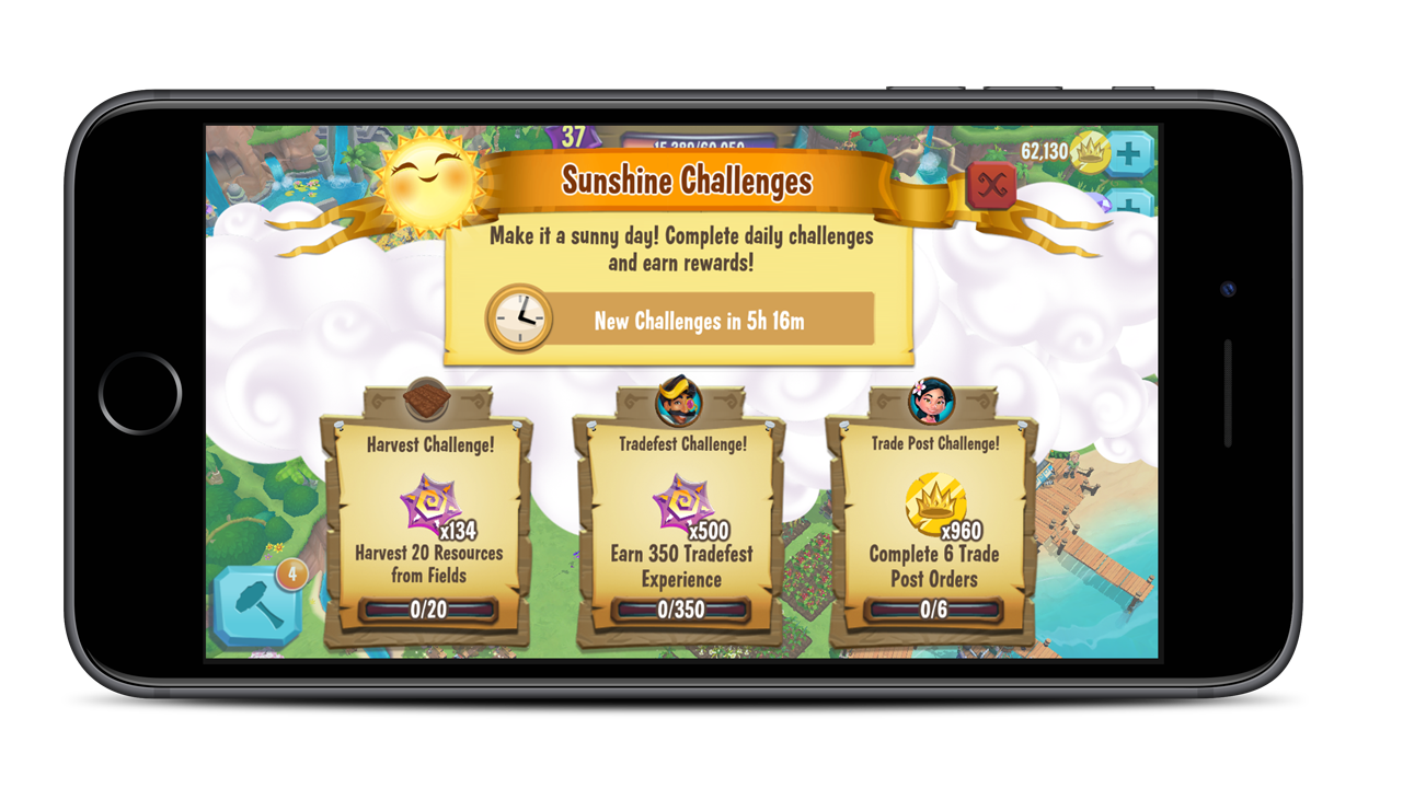 Sunshine Challenges are a daily challenge system that improve short term goals per session and push players towards their next milestone.
