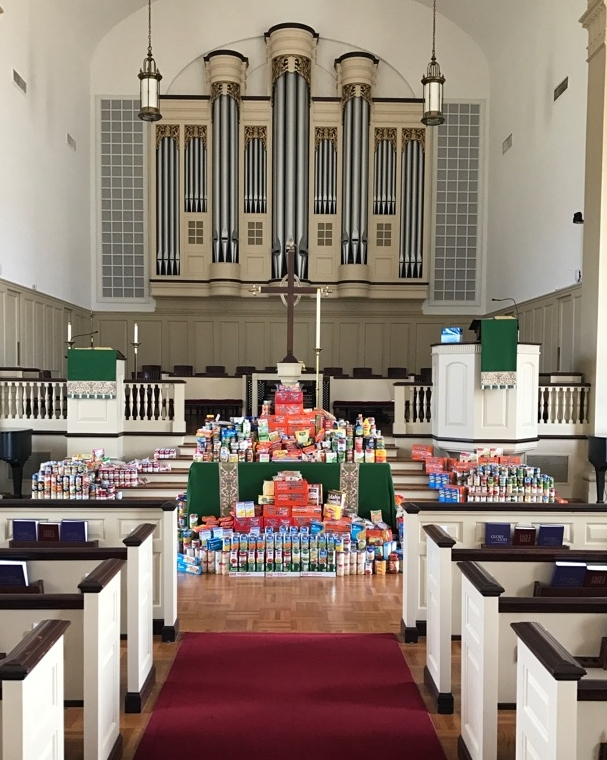 The Sanctuary at FPC Tyler was filled with canned goods collected for the Souper Bowl of Caring.