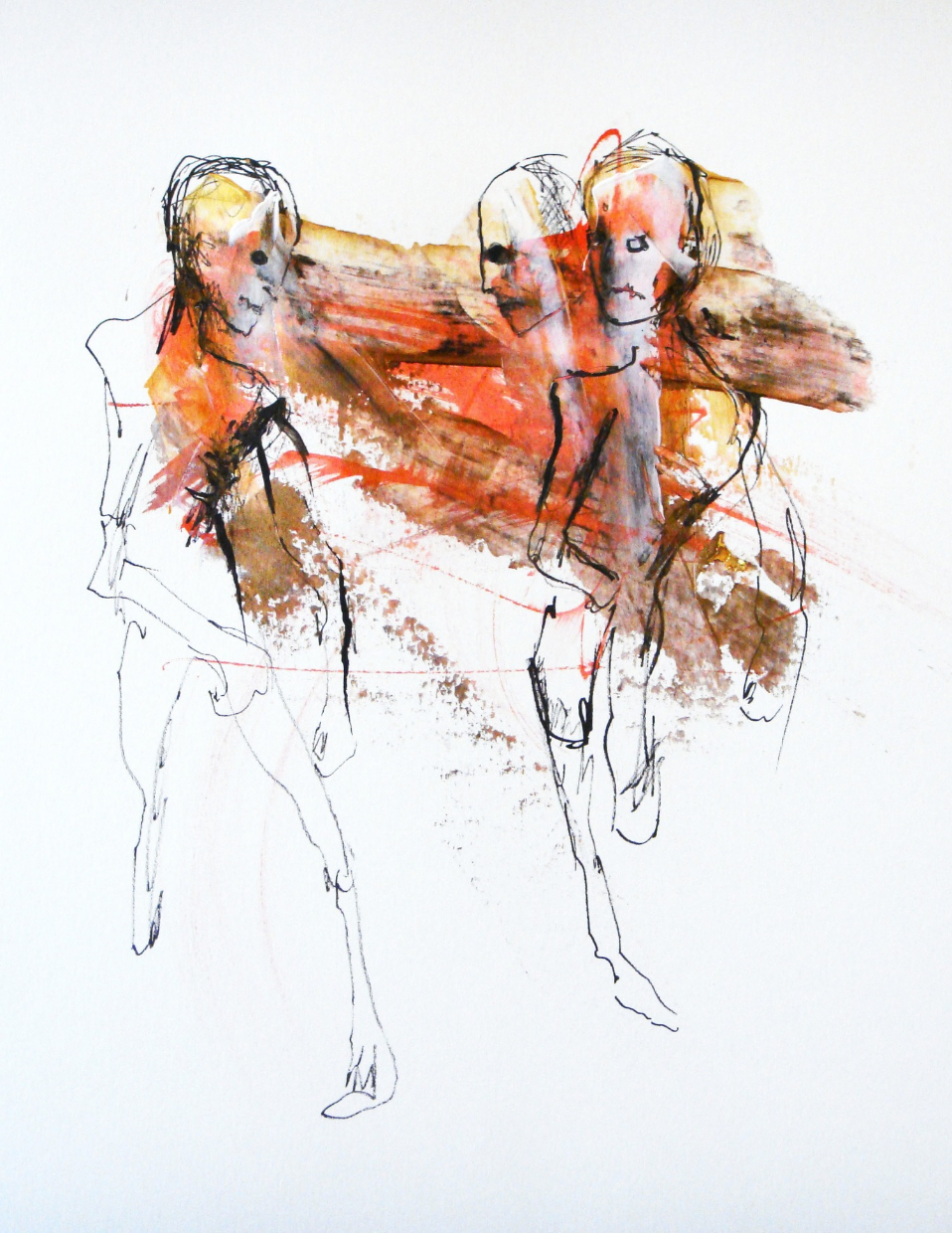 VARIATIONS ON THE HUMAN FIGURE #61  -  ink and acrylic on paper