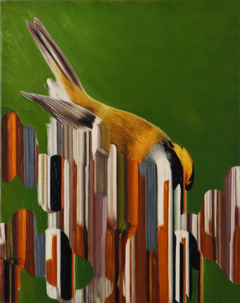 CLOUD CUCKOO LAND (FIRECREST)  -  oil on canvas
