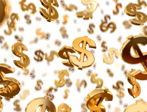 Photo of gold dollar signs that symbolizes how you can get big dollars from small quantities of gold scrap at GoldRefiners.com, part of Specialty Metals Smelters & Refiners.