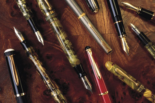 Photo of antique fountain pens containing platinum gold and silver that can be recycled profitably by Gold Refiners.com, part of Specialty Metals.