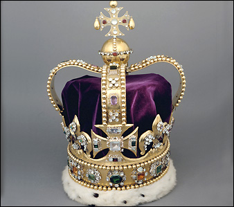 Visit the British Crown Jewels. Shown: St. Edward's Crown was refurbished for Charles II's coronation from an old crown. The gold may have come from Edward the Confessor's crown. Credit: © Crown copyright.