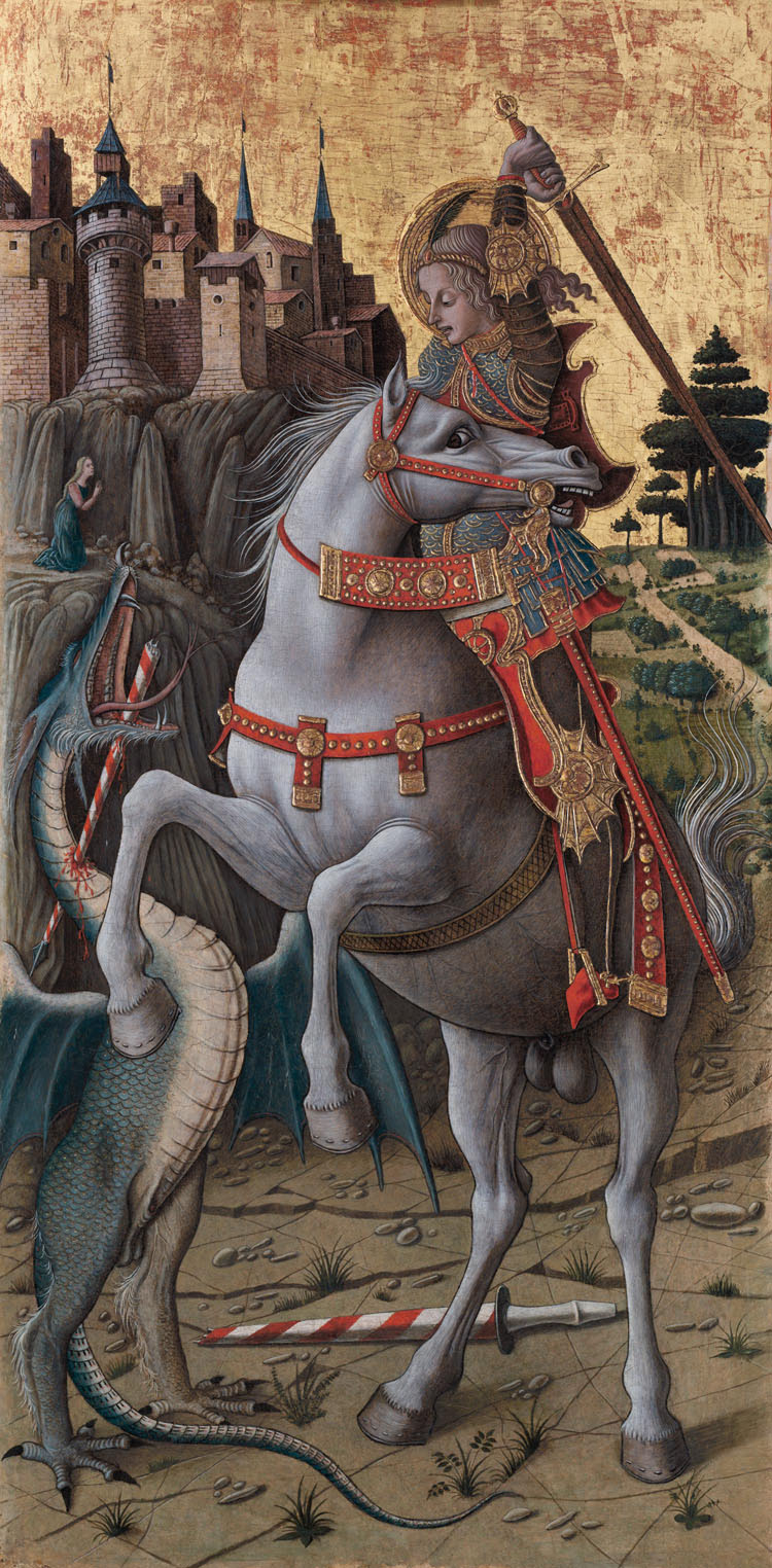 Saint George Slaying the Dragon, by Carlo Crivelli, 1470, Tempera, gold and silver on panel. Courtesy of the Isabella Stewart Gardner Museum, Boston.