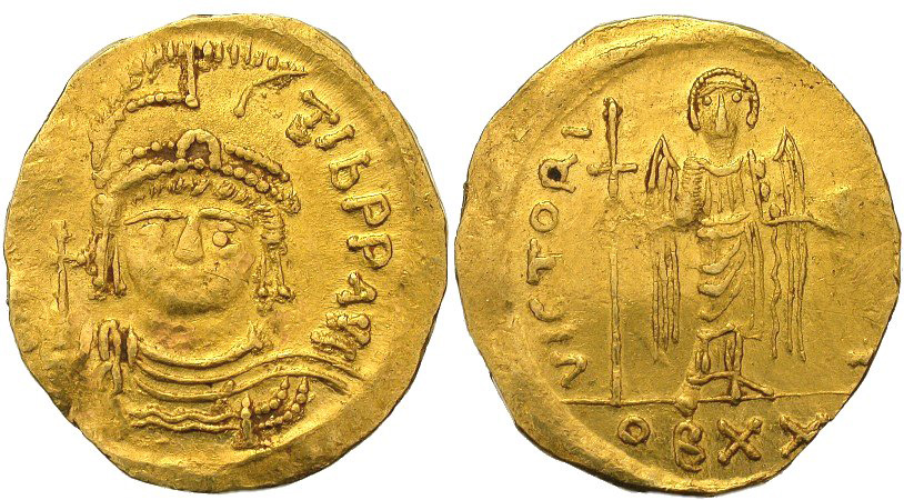 Should you add this Rare Byzantine gold coin minted in about A.D. 582 to your investment portfolio? Courtesy of Forvm Ancient Coins.