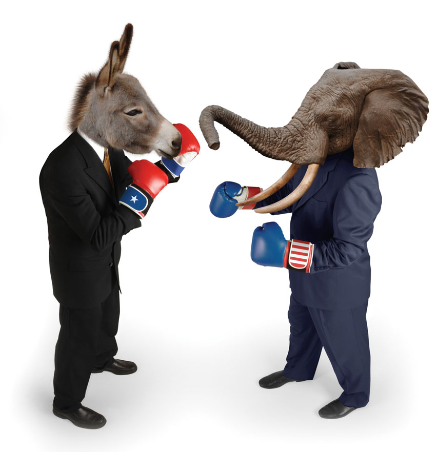 Image of Democratic Donkey vs Republican Elephant, in suits, for Gold Refiners post, Would Gold Prices Rise More Under Democratic or Republican administrations? Credit: jgroup/iStock.