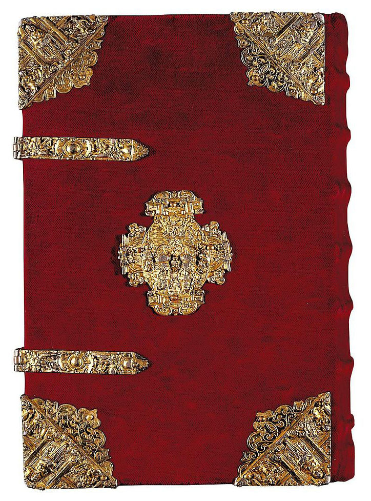 The cover of the Rothschild Prayerbook as more gold than the rest of the book, but nobody's ever tested it to see how pure the karat gold in its hardware is. Credit: Wikimedia Commons Public Domain.