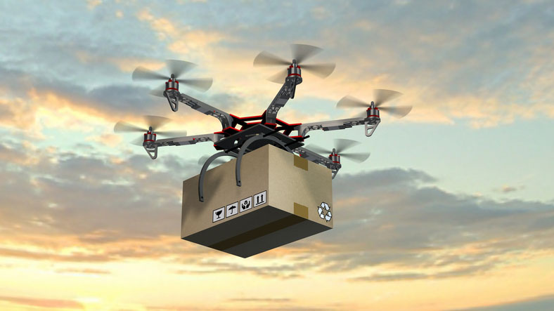 Image of drone delivering package for blog post on GoldRefiners.com about how much gold is in new gadgets. Credit: bestgreenscreen/iStock.