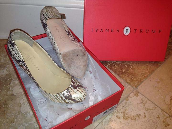 "Will Ivanka Trump usher in a new ""gold rush?"" Shown: Ivanka Trump Itpinksy 710 Gold Embossed Snake Pumps."