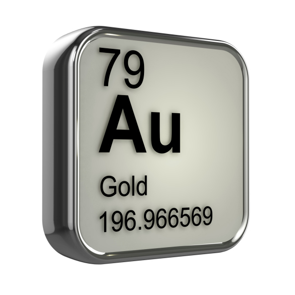 Shown: the periodic table symbol for Gold, element 79, which is very valuable and can be recycled and refined by Specialty Metals.