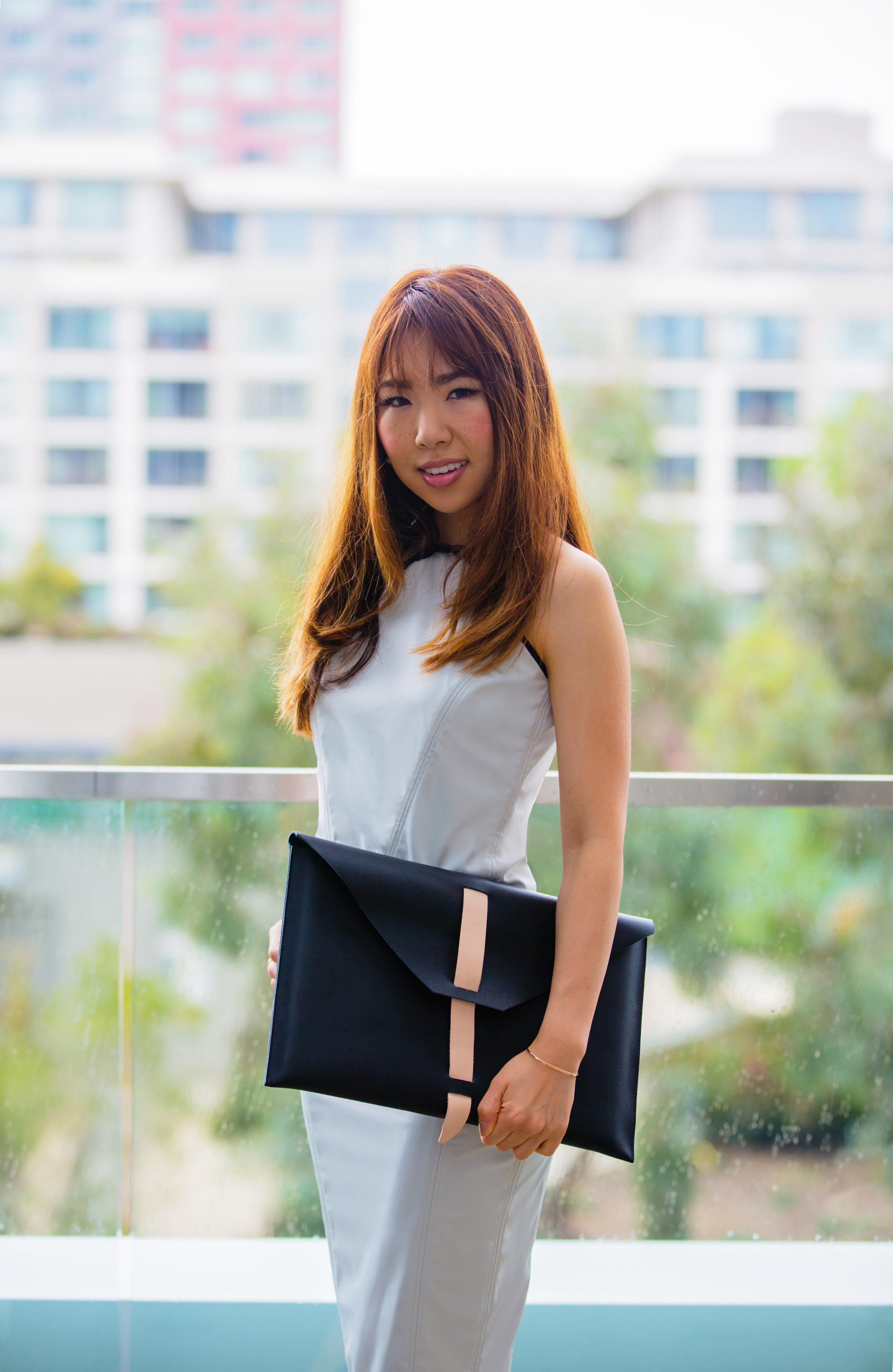 AW16 Zuria HalterTop & Brea Pencil Skirt (Reversible/Water Resistant)  , Aish Envelope Bag