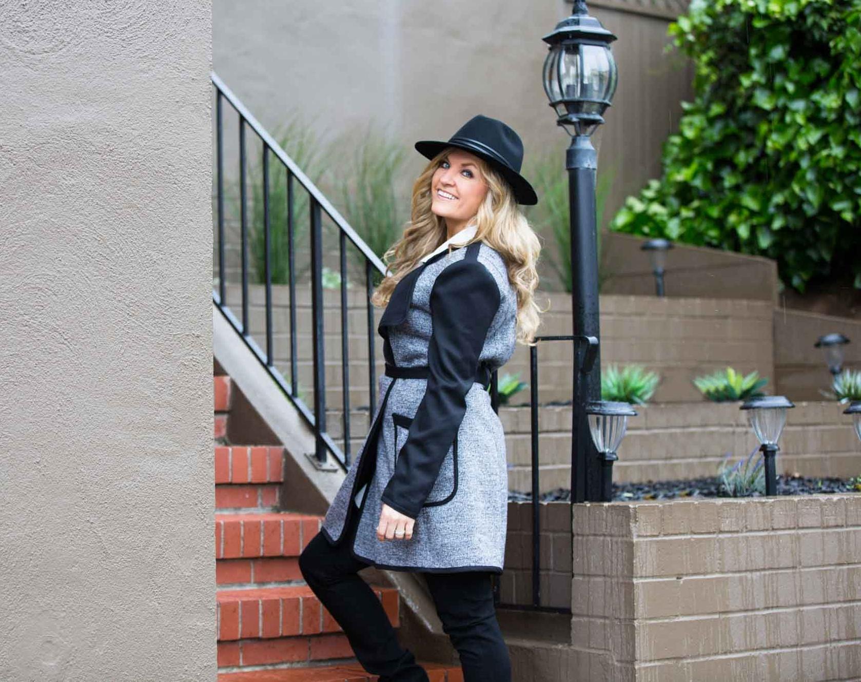 On Fabiola -  Rogue Hat  |  Reversible Jacket  |  Niya Tunic