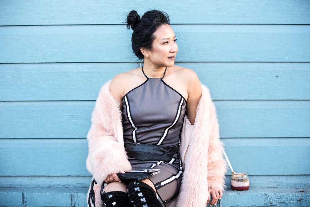 On Julie -  Zuria Reversible Halter Top | Brea Reversible Skirt  | Aya Belt |  Tara Clutch