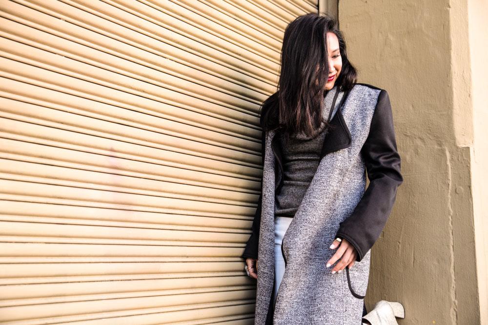 On Julie:  Reversible Jacket |  Olivier Sweater