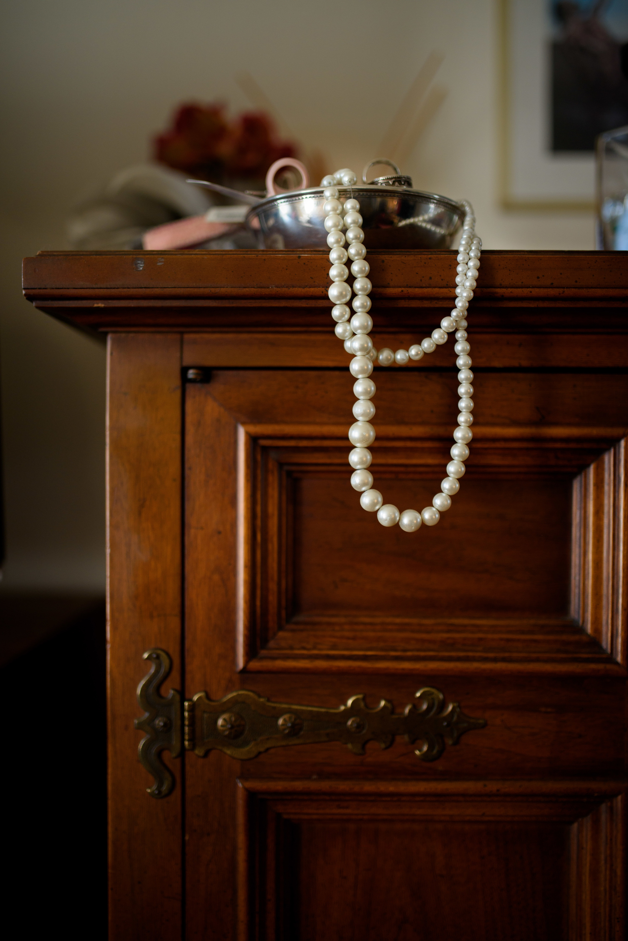 Pearl Necklace On Dresser
