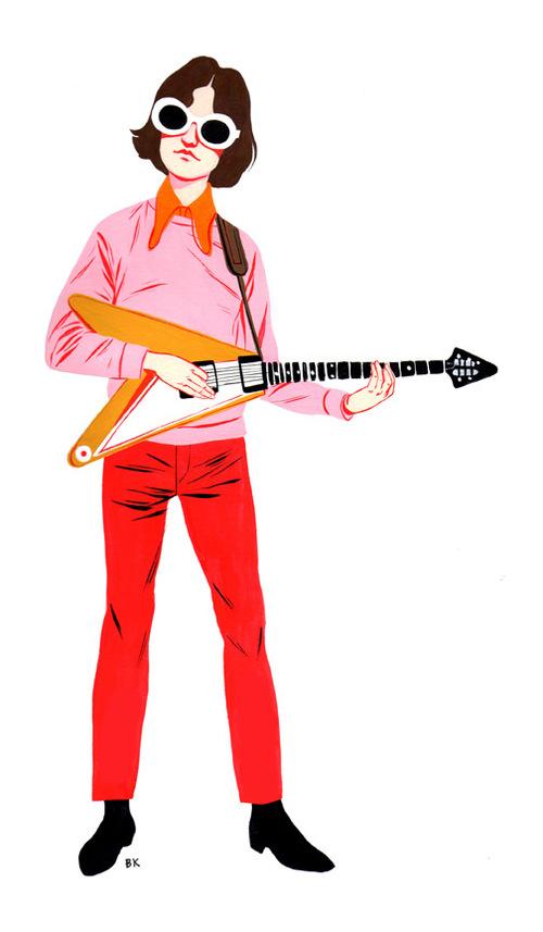 Illustration of Dave Davies from The Kinks, for LA Recordmagazine by BIJOU KARMAN