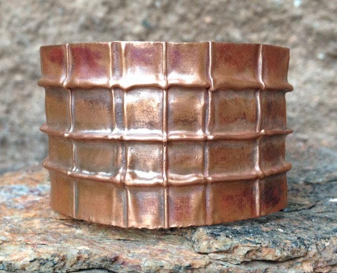 Rustic Grid Copper Cuff