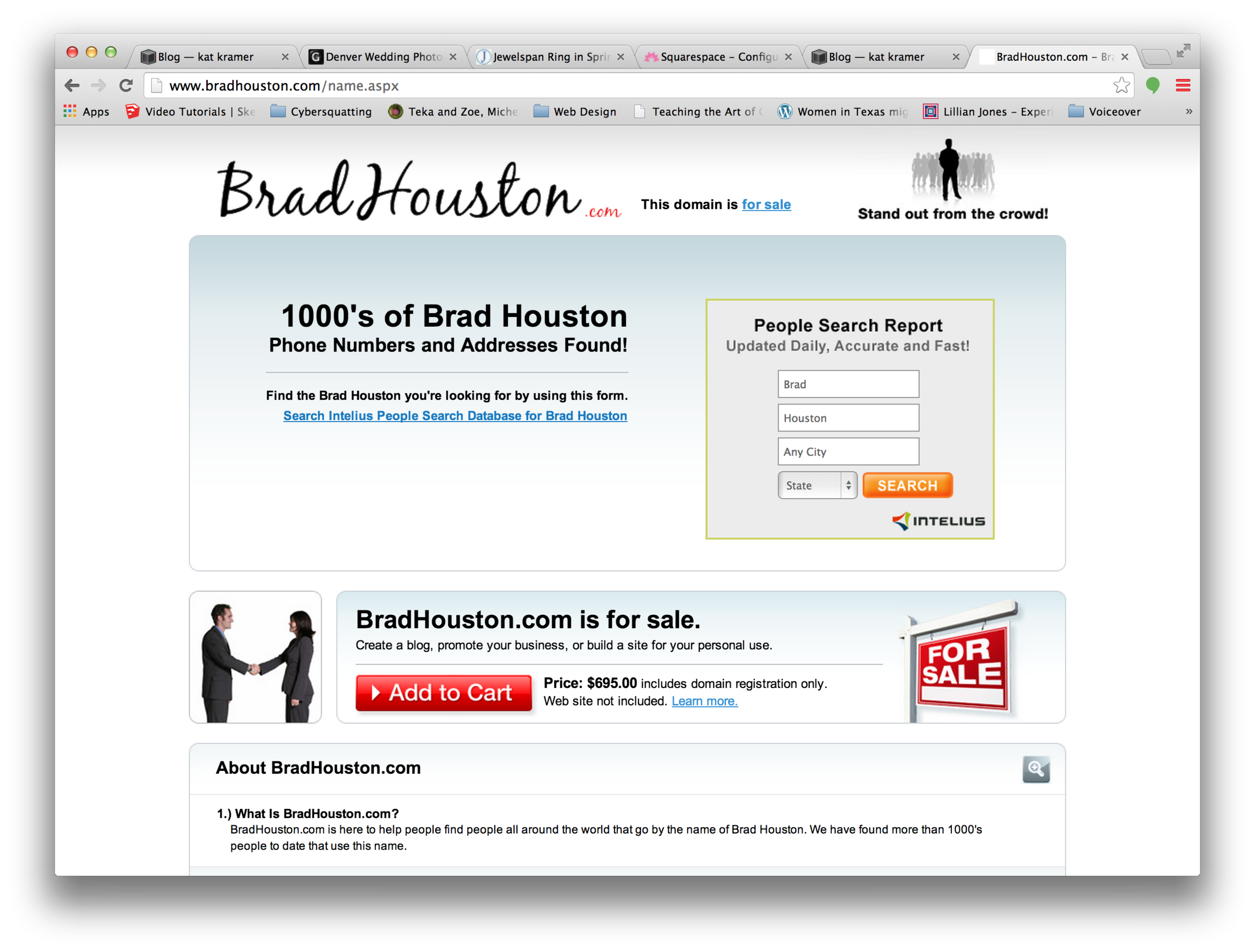The bradhouston.com domain is for sale, with a price clearly listed on the page