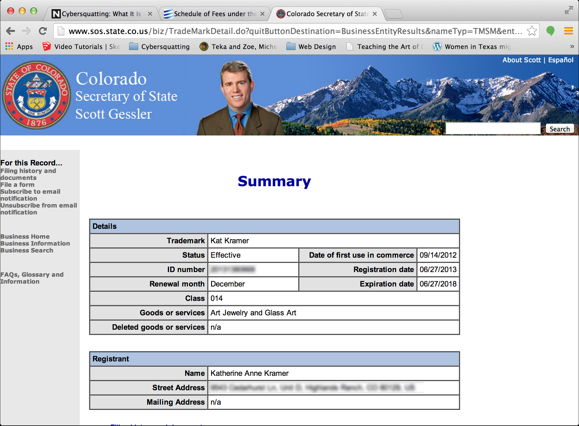 My trademark listed on the Colorado Secretary of State website