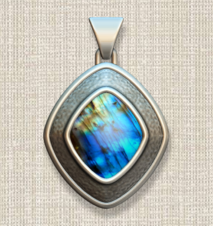 ZBrush pendant with labradorite cabochon; stone image applied as texture