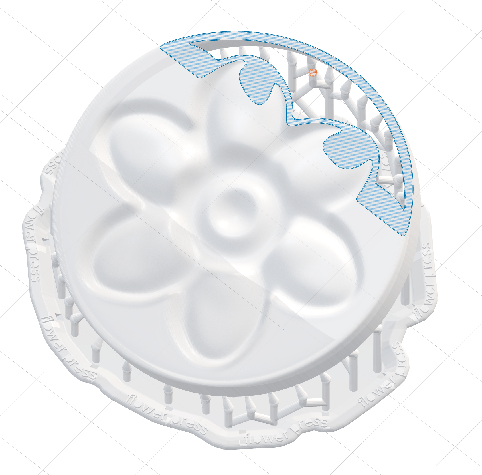 Formlabs' PreForm with shell mold loaded and supports added…also shows cutaway in slicer