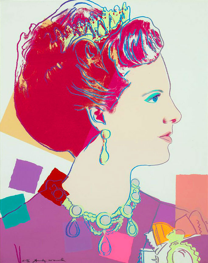 """Warhol, """"Queen Margrethe II of Denmark (White) from the Reigning Queens Royal Edition with Diamond Dust of 1985″, Screenprint"""