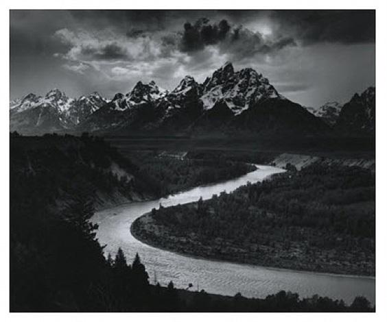 Ansel Adams,  Tetons and the Snake River, Grand Teton National Park,  1942. Lithographic print